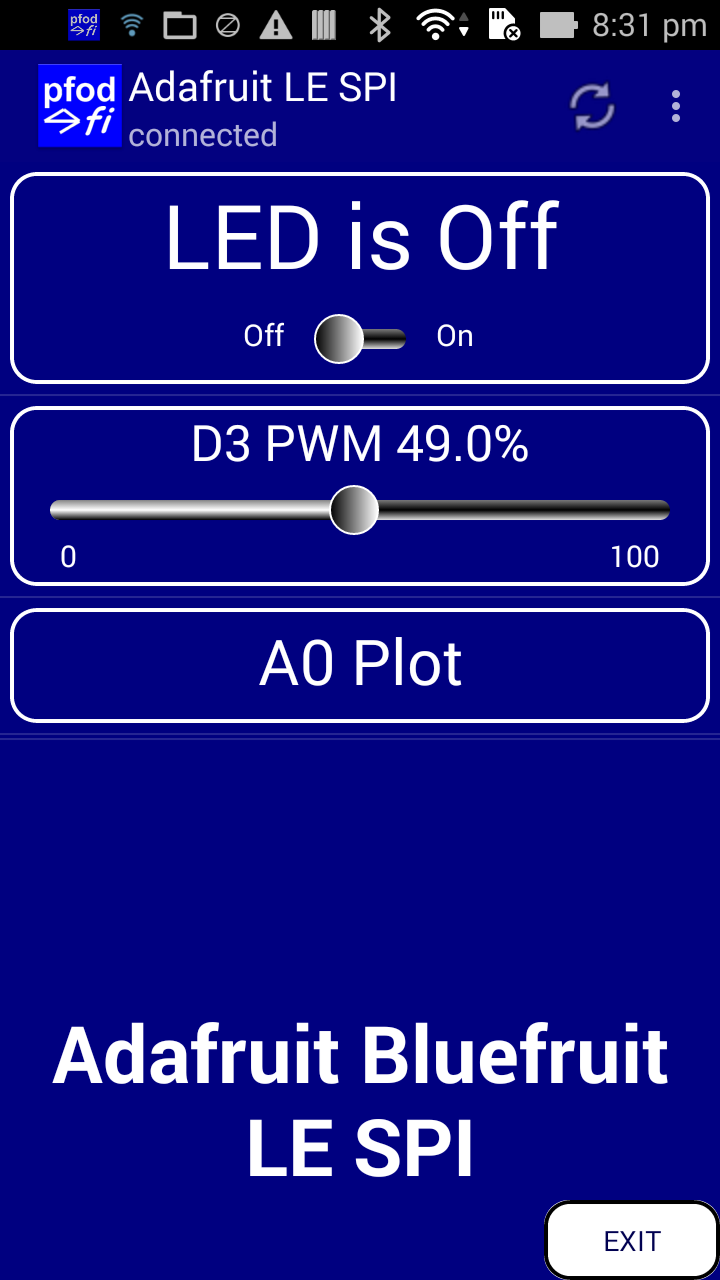 Bluetooth Low Energy (BLE) made simple with pfodApp™ Custom BLE