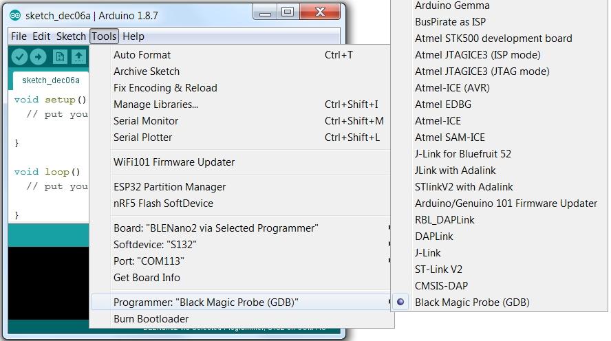 BLE in Arduino BlackMagic Probe Programmer