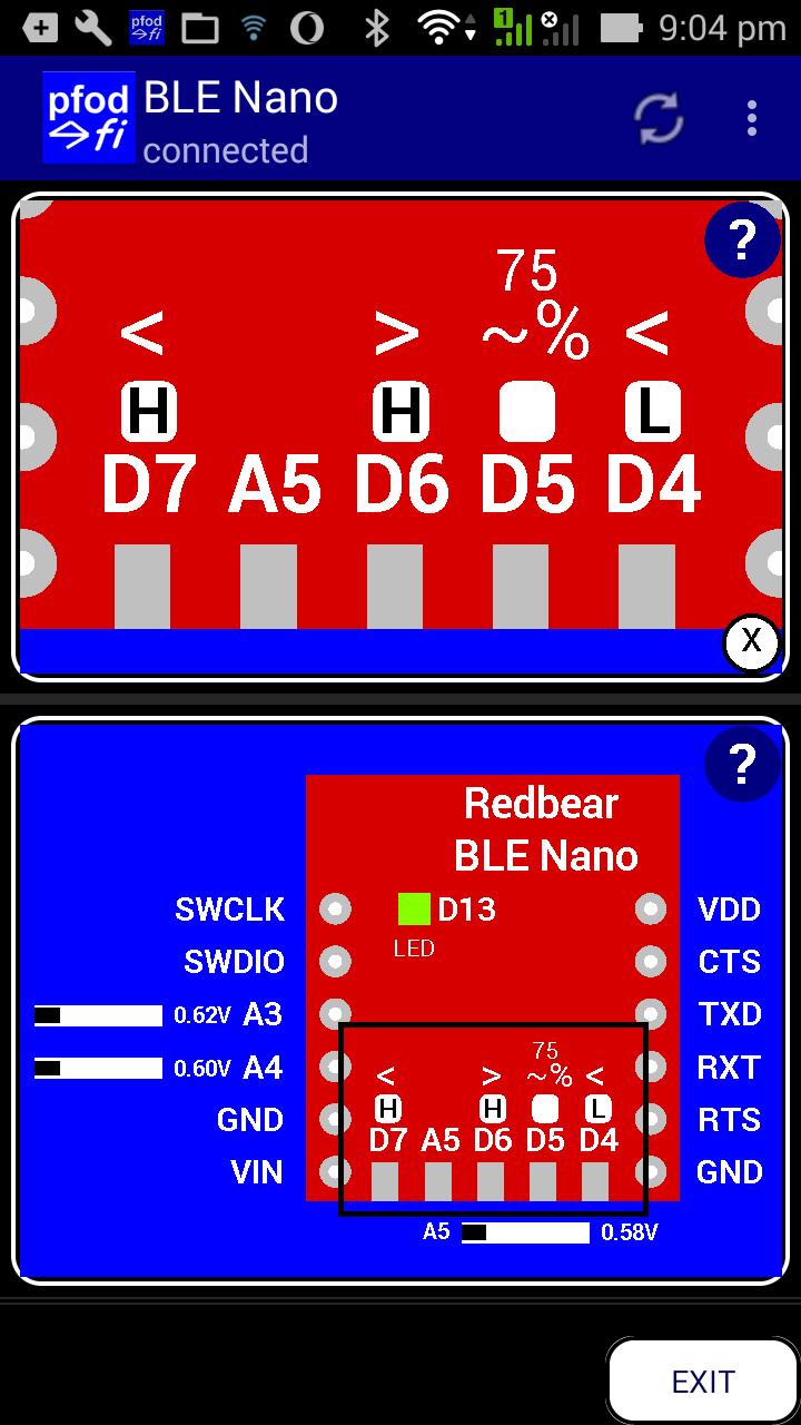 Redbear BLE Nano (V1-V1 5) Custom Controls with pfodApp™ No
