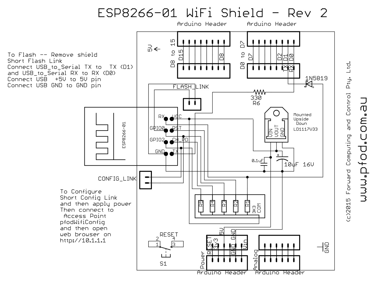 ESP8266-01 Wifi Shield, Rev 14 for Arduino and other micros
