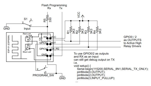 Esp8266 01 Pin Magic How To Use The Pins Usb Parallel Serial Circuit Diagramch341 Basiccircuit While Can Send Debug Messages Over Wifi Connection It Is Often Convenient Tx Next Example Show Gpio0 And Gpio2 As