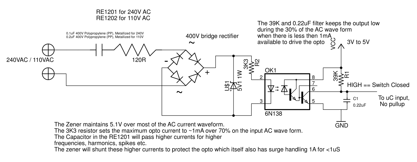 Ac Power Light Switch Monitor Optically Isolated For Circuit