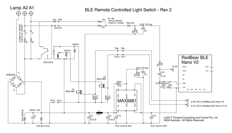 Remote controlled light switch retrofit with manual override the max8881 regulator has a 33v output but is primarily used to delay the startup of the redbear ble nano until c1 1000uf has charged up sufficiently to ccuart Gallery